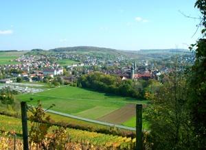 Blick aus den Weinbergen auf Weikersheim